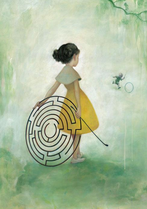 Dibujo de una niña y un laberinto (Título: Maze, Autor: James Jean)