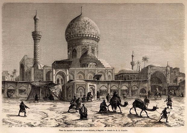 Place du marché et mosquee Ahmet-Khiaïa, à Bagdad (dessin de M. E. Flandin)